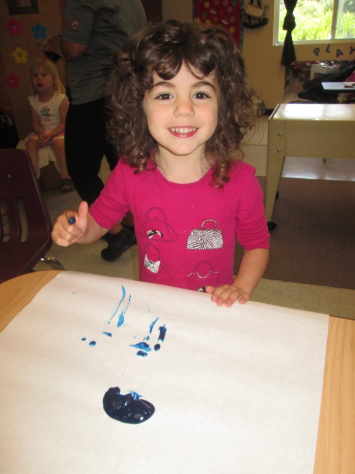Preschool Girl Fingerpaint